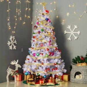Árvore Branca de Natal Φ105x180cm com enfeites