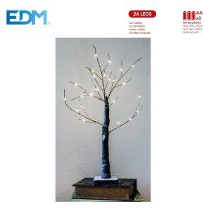 Árvore De Natal Branco Quente 24 Leds A Pilhas 3Xaaa 60Cm. P