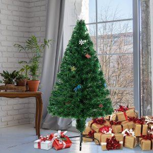Árvore de Natal 120cm Artificial Árvore com Suporte Metálico Luzes LED