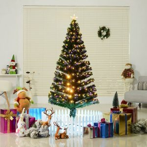 Árvore de Natal 180cm Artificial Árvore com Suporte Metálico Luzes LED Multicores