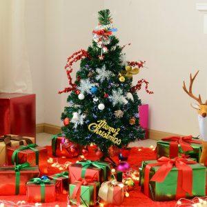 Árvore de Natal 90cm Artificial Árvore com Suporte Fibra Óptica 4 Cores