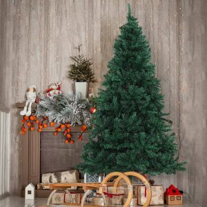 Árvore de Natal Decoração Artificial de Natal de Pinheiro de Ф102x180cm com Suporte Metálico 1000 Ramos Verde PVC