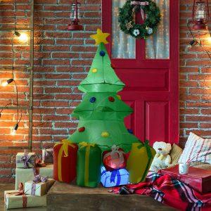 Árvore de Natal Insuflável 1.5m Árvore Decorativo com Enfeites de Prendas Iluminado LED
