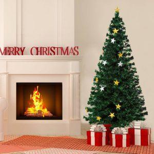Árvore de Natal Verde Φ 80 x 180 cm Árvore de Fibra Ótica com 28 Luzes