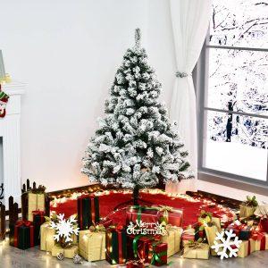 Árvore de Natal artificial 140cm Pinheiro Decoração de Natal com Suporte Metálico 400 Ramos PVC Verde e Branco