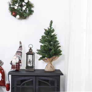Árvore de Natal artificial pequena com 60 cm de altura com 70 filiais Base de tecido Mini árvore de Natal realista para interiores Verde