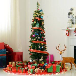 Árvore de natal Φ46x150cm Artificial Pinheiro Decoração de Natal com suporte de plástico 294 Ramos Verde PVC