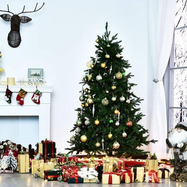 Árvore de natal ∅115x180cm Artificial Árvores Decoração de Natal com 1492 Ramos de Apoio em Metal
