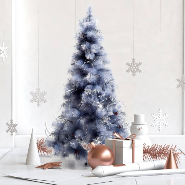 Árvore de natal 150 cm Pinheiro Artificial Decoração de Natal com Peças de Decoração 222 Ramos Cinza Metal PET