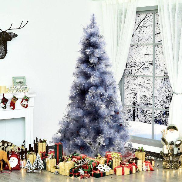 Árvore de natal 210 cm Pinheiro Artificial Decoração de Natal com Peças de Decoração 499 Ramos Cinza Metal PET