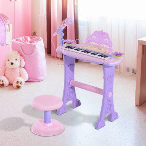 Órgão Eléctrico Infantil 37 Teclas Piano Infantil com Microfone Banquinho Luzes Ritmos Sons MP3 Karaoke Modo Aprender Rosa