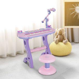 Órgão Electrónico Piano Infantil com Microfone Banquinho Luzes e 22 Canções cor Rosa