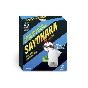 Repelente Electronico Sayonara Anti Moscas Mosquito Comum E Tigre Uso Interior (Caixa Difusor + Sobresselente Liquido)