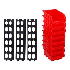 Set De 8 Caixas Contentora Empilhável 12X10Cm Inclui Soporte Para Fixação De Parede