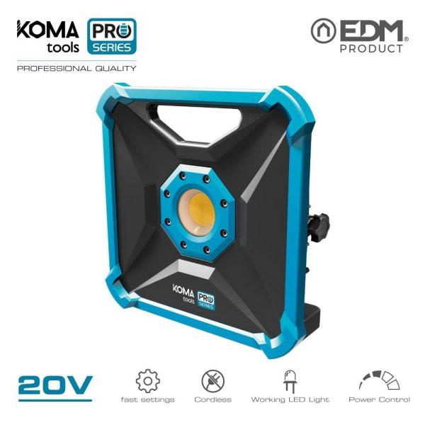 Foco Projetor Led 20W 1.800 Lumens 20V (Sem Bateria E Carregador) Koma Tools Battery Series Edm Cri80 Angulo Abertura 120 Led Cob Corpo De Aluminio Ip20 7X23