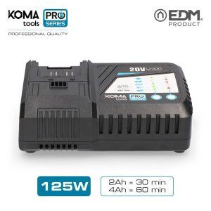 Carregador Rapido Bateria 125W Koma Tools Battery Series Edm 100-240V Carregador 2.3A-5A  Tempo De Carga 30 Minutos Para Bateria 08770 2.0Ah 60 Minutos Para Bateria 08771 4.0Ah