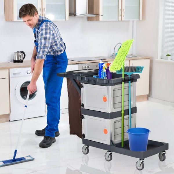 Carrinho de limpeza profissional com saco de lixo com rodas com tampa 131x56x93 cm