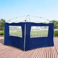 2 Paredes laterais com janelas para tenda para pavilhão-Cor azul-Oxford-3x2 m