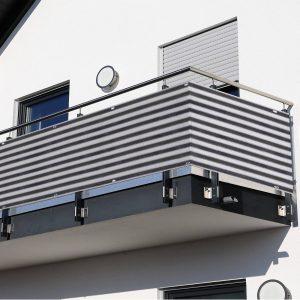 2 Peças de Revestimento de Varanda Tela de proteção de privacidade HDPE 500x90cm com cordas