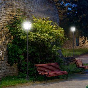 Poste de luz solar ao ar livre 6 LEDS Autonomia 6-8 Horas Partida automática Ф26x177 cm Luz de rua solar exterior  6 LEDS e autonomia de 6-8 horas automáticas