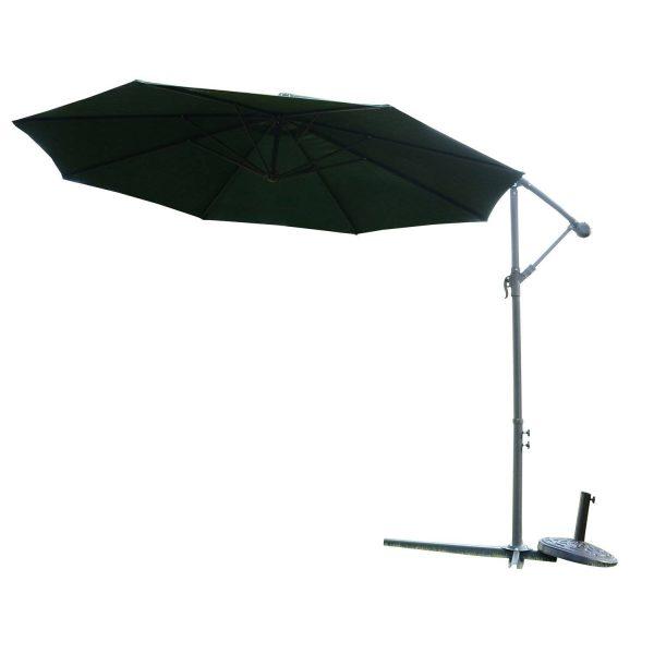 Guarda-sol Reclinável para Jardim ou Pátio - Verde Escuro - Aço e Poliéster 180 g/m2