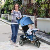3 em 1 triciclo para crianças +18 meses azul 96x53.5x101cm
