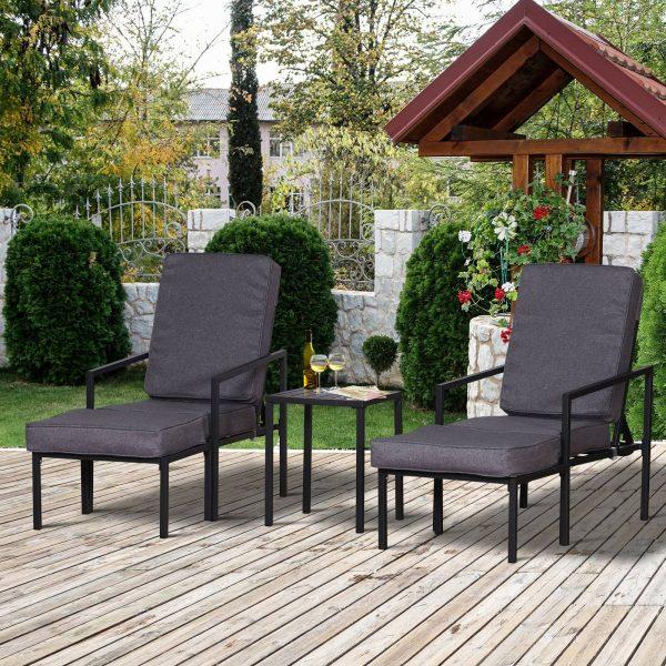 Conjunto de móveis de terraço 2 cadeiras 1 mesa e 2 apoios para pés