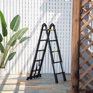 Escada Telescópica dobrável multiuso quadro em A 150kg Alumínio 320x67x7 cm Preto
