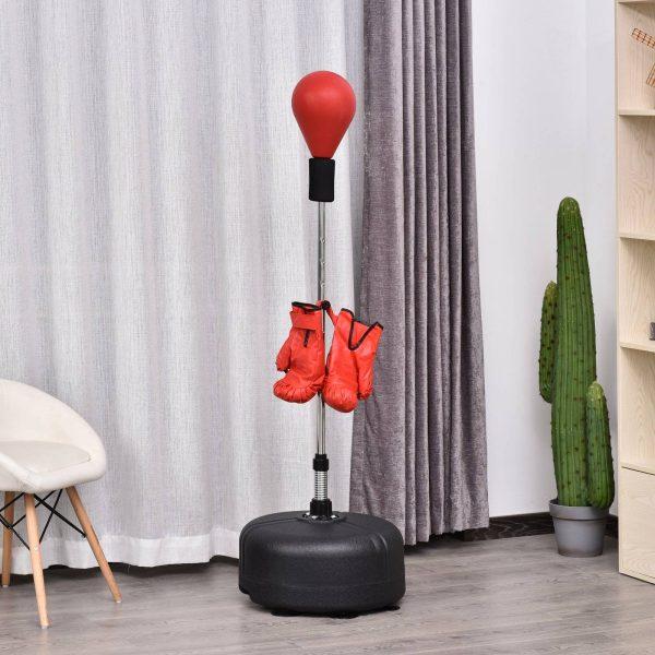 Pêra de boxe com suporte Altura regulável 48x136-154cm Vermelho