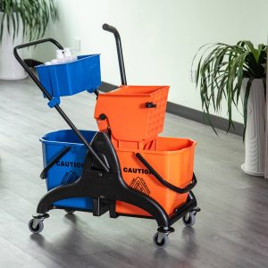 Balde de esfregona com capacidade de balde dupla espremedor 26L 78x45x95 cm laranja e azul