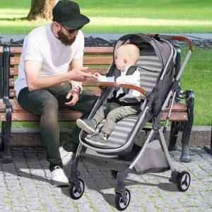 Carrinho de bebê dobrável com assento e freio ajustáveis