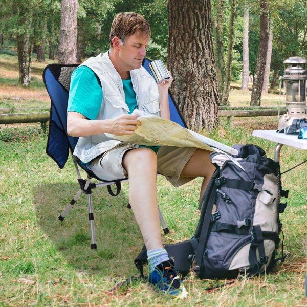 Cadeira Dobrável com Bolsa para Camping 58x49x64cm Azul