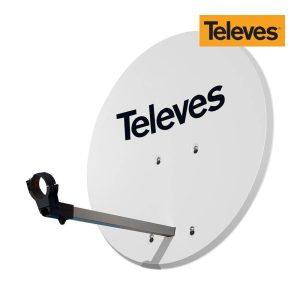 Antena Parabólica Diam.63Cm Offset Disco Aluminio Cor Branco Televes. Com Fibra De Vidro. Anti-Magnetica