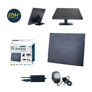 Antena Uhf Interior Tv Edm Uhf 470-862 Mhz Design Series Vhf 28Db Impedancia 75 Ohm 3Db 220-230V Ac/Dc Adaptador 6V 100Ma 188X155X13