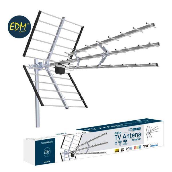 Antena Uhf Exterior Tv Edm 470-790 Mhz Professional Serie 27 Elementos 9-15 Dbi 1020Mm Comprimento Impedancia 75 Ohm 1020Mm