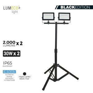 "Projetor Led Com Tripé 2X30W 6400K 2 X 2000 Lumens ""Black Edition"" Lumeco 220-240V Altura Regulavel 50 A 90Cm  Ip65."