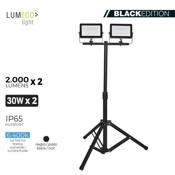 """Projetor Led Com Tripé 2X30W 6400K 2 X 2000 Lumens """"Black Edition"""" Lumeco 220-240V Altura Regulavel 50 A 90Cm  Ip65."""