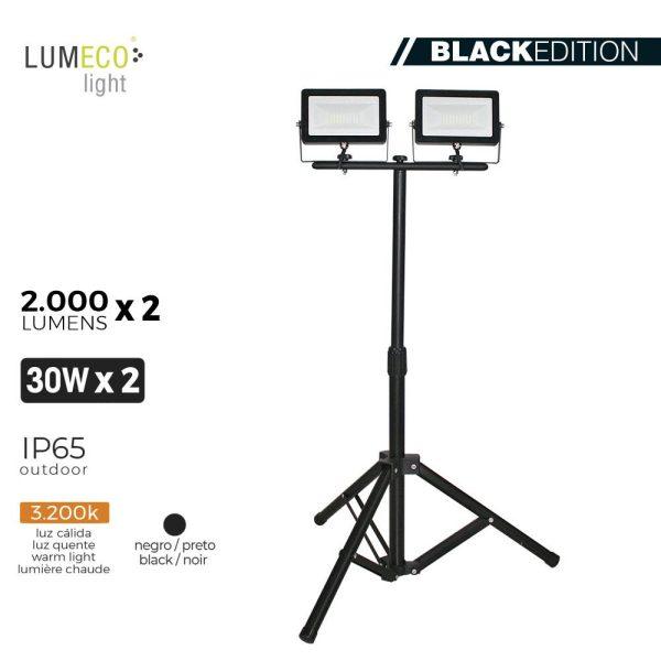 """Projetor Led Com Tripé 2X30W 3.200K 2 X 2000 Lumens """"Black Edition"""" Lumeco 220-240V Altura Regulavel 50 A 90Cm"""