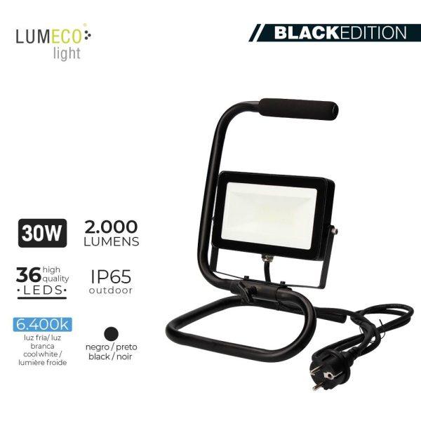"Projetor Led Com Pé 30W 6400K 2000 Lumens Cable 1.5M ""Black Edition"" Lumeco 220-240V"
