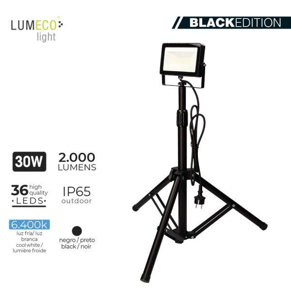 """Projetor Led Com Tripé 30W 6400K 2000 Lumens """"Black Edition"""" Lumeco 220-240V Altura Regulavel 50 A 90Cm. Cabo Alimentação 1"""