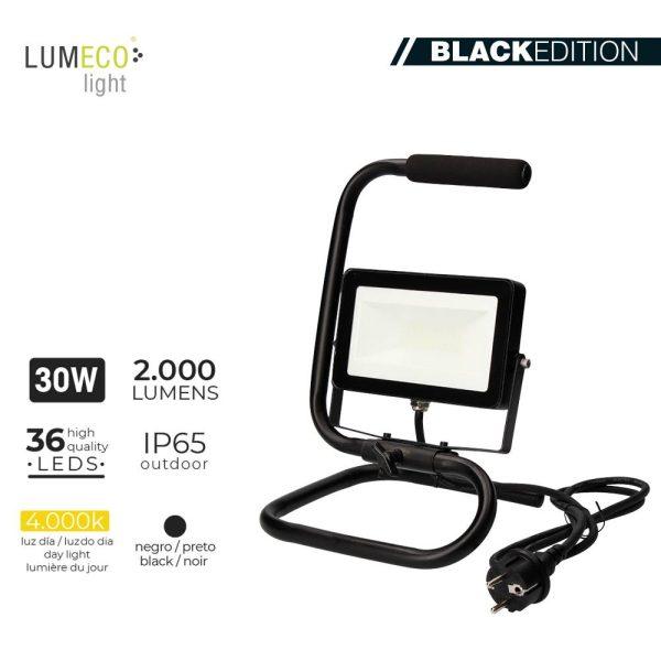 "Projetor Led Com Pé 30W 4000K 2000 Lumens Cable 1.5M ""Black Edition"" Lumeco 220-240V"