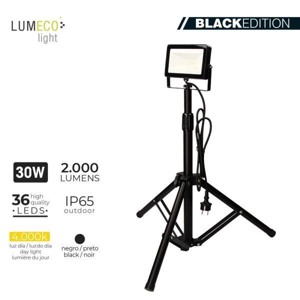 """Projetor Led Com Tripé 30W 4000K 2000 Lumens """"Black Edition"""" Lumeco 220-240V Altura Regulavel 50 A 90Cm"""
