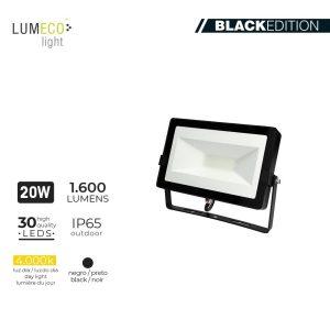 "Projetor Led 20W 4000K 1600 Lumens ""Black Edition"" Lumeco 220-240V 12X18.2X2.85Cm"