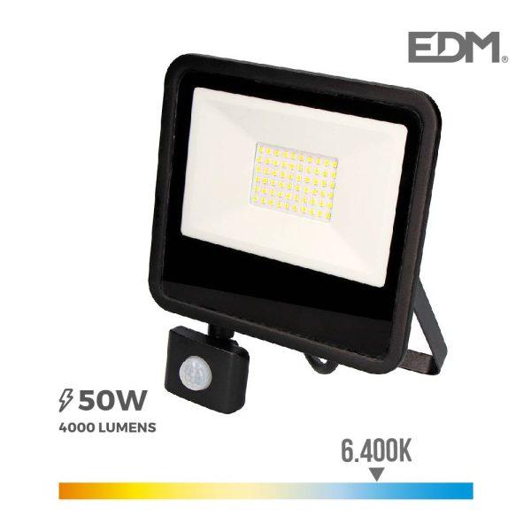 """Foco Projetor Led 50W 6400K Com Sensor De Presença """"Black Edition"""" Edm 192X238X45Mm. Aro Metálico + Vidro. Ip65 Classe De Proteção Ii. Ce"""