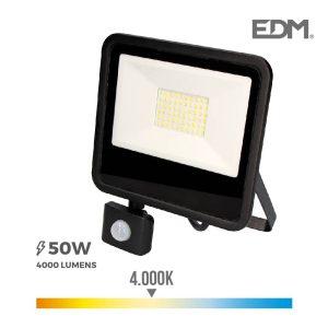 """Foco Projetor Led 50W 4000K Com Sensor De Presença """"Black Edition"""" Edm 192X238X45Mm. Aro Metálico + Vidro. Ip65 Classe De Proteção Ii. Ce"""