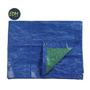 Lona Plastica 4X5Mts Dupla Cara Azul/Verde Com Ilhoses De Metal Densidade 90Grs/M2  Edm