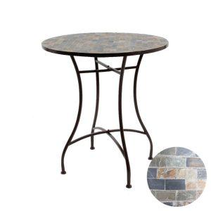 Mesa Mosaico Modelo Sttutgart Para Exterior Em Ferro E Mosaico De Pedra Cor Castanho Ø 70X77Cm