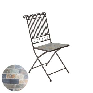 Cadeira Mosaico Modelo Sttutgart Para Exterior Em Ferro E Mosaico De Pedra Cor Castanho 39X39X90Cm