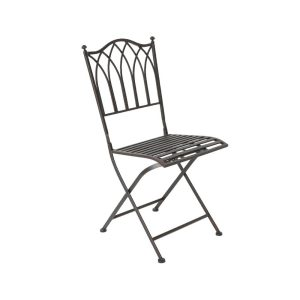 Cadeira De Ferro Dobravel Para Exterior Modelo Burdeos Cor Castanho 50X42X90Cm