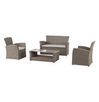 Set Bora Bora Sofa Duas Cadeiras E Mesa Castanho Poltrona 71X72X78Cm 8